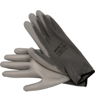 Guante de Nylon / PU Color Gris 10""